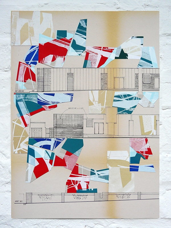 Collage with different paper painted & screenprinted on an old architecture plan from 1983