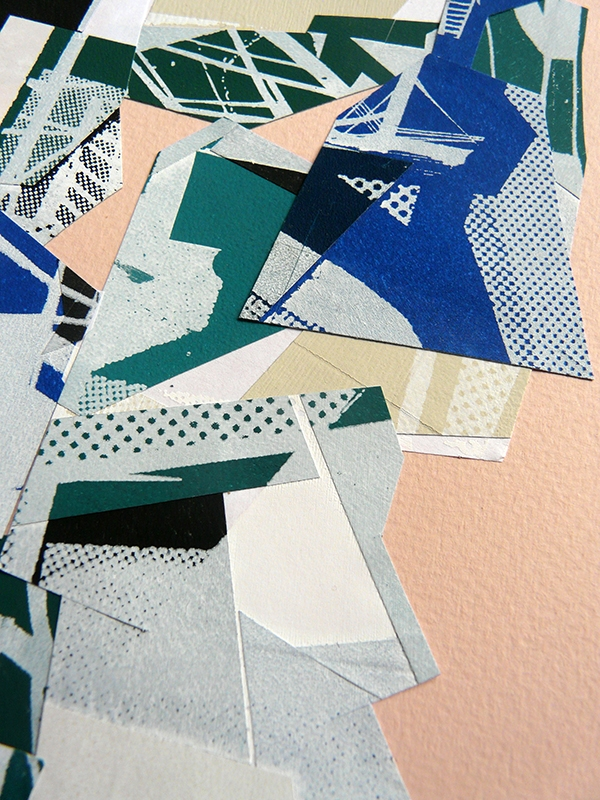 Collage with different paper painted & screenprinted on paper
