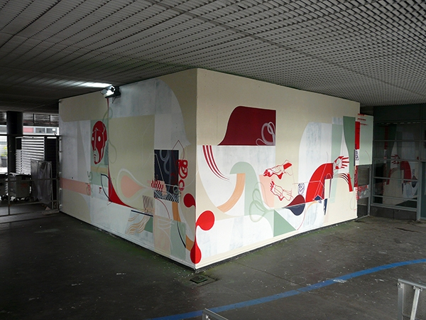L'Aéronef Artistic residency & mural painting curated by 9eme concept Lille amose