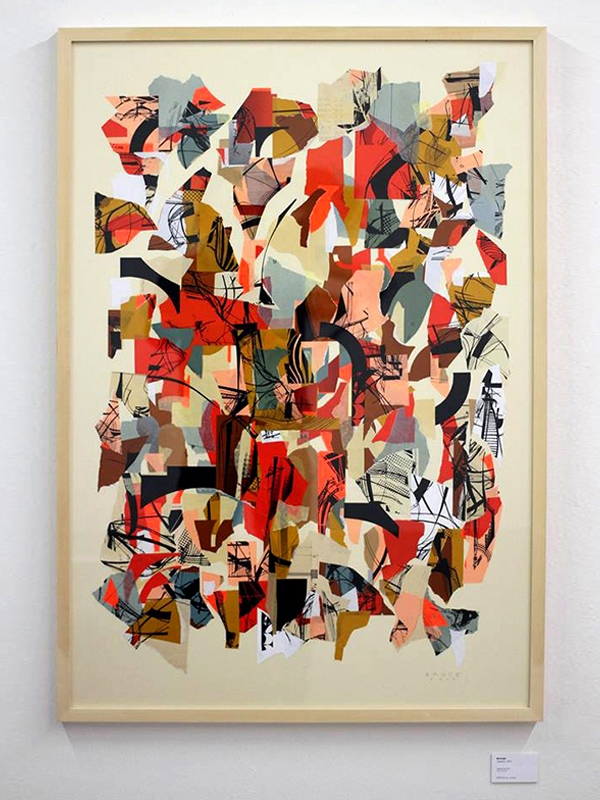 Collage with different paper screenprinted 2015