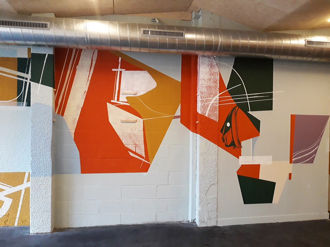 """Mural painting for a restaurant in a new climbing area called """" Arkose """" in Lille"""