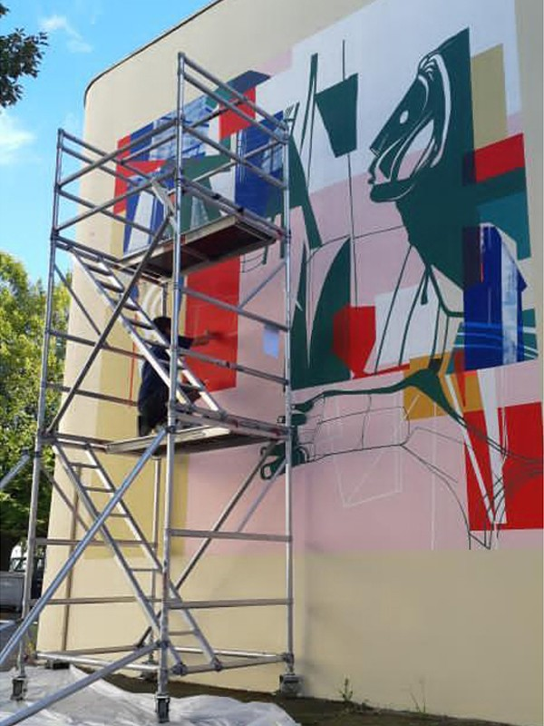 "Mural painting for "" L'Antipode "" a concert hall in Rennes"